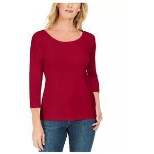 KAREN SCOTT Red Cotton Scoop Neck ¾ Sleeve Top